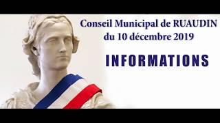Conseil Municipal de Ruaudin du 10 décembre 2019 en vidéo