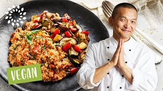 Hirse mit gebratenem Gemüse – mediterran [Rezept] - Vegan