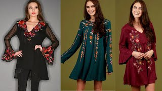 Top Trendy Asian Style 2020 Of Embroidered Georgette/Linen Tunic Dress Peplum Blouse/Top For Girls
