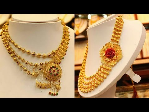 Latest Gold Mini Haram Gold Necklace Designs with weight. Bridal Jewellery!!