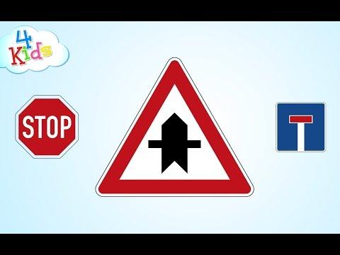 Verkehrszeichen und Schilder im Straßenverkehr lernen für Kinder Teil1 (deutsch)