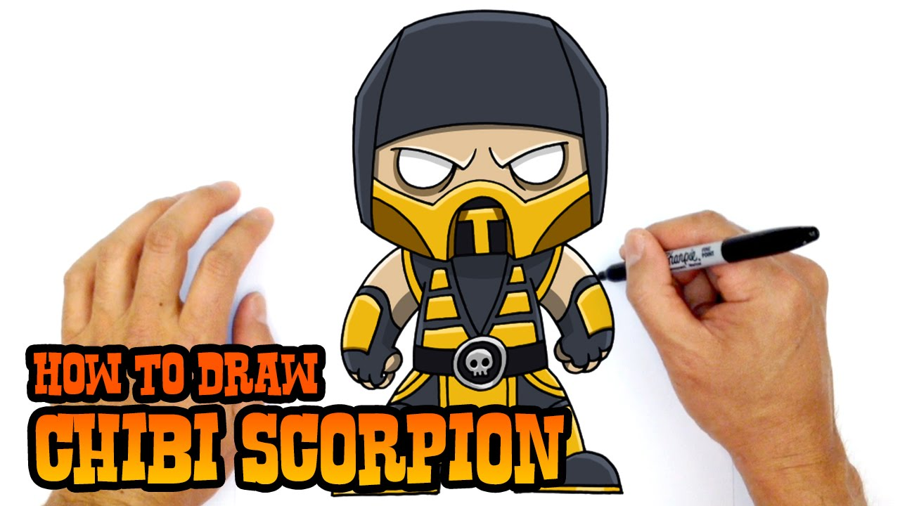 How To Draw Mortal Kombat Scorpion Youtube