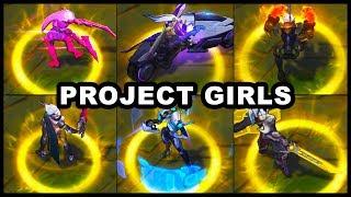 All Project Girls Skins Spotlight Vayne Ashe Katarina Fiora Leona Vi  League Of Legends