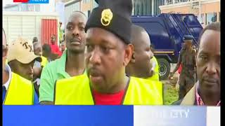 Nairobi governor Mike Mbuvi Sonko leads tree planting exercise along the city's Ngong road.