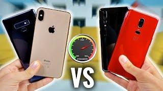 iPhone XS Max VS Note 9 VS P20 Pro VS OnePlus 6 : Speed Test