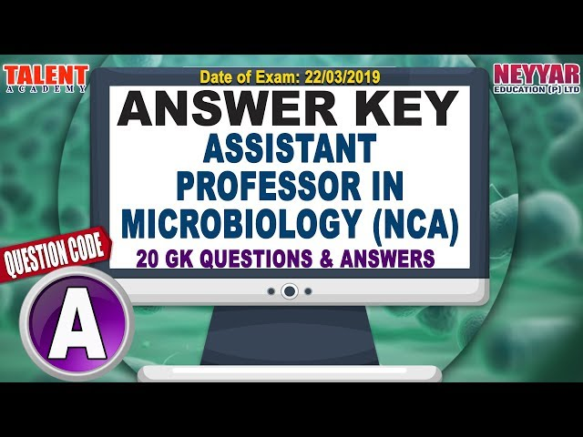 Kerala PSC Today's Exam (22/03/2019) Asst Prof MICROBIOLOGY GK Questions Answer Key