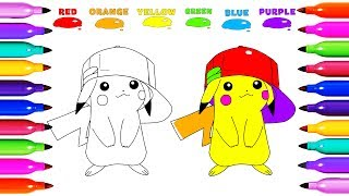 Draw Coloring PIKACHU POKEMON GO Learn colored for Kids Learning Coloring pages Kids