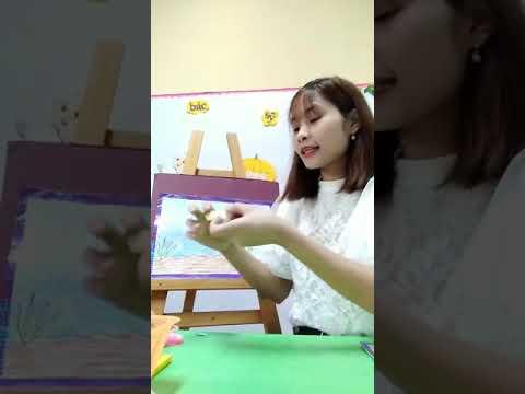 Cô Thơm 4TA - Dạy trẻ làm bức tranh cá bằng lá cây