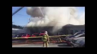 Raw video: Bentley Motors on fire on city's south side of Bloomington