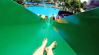 Green Kamikaze Water Slide at Pattaya Park Thailand