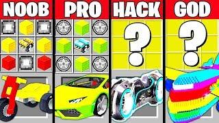 Minecraft Battle: SUPER VEHICLE CAR CRAFTING CHALLENGE - NOOB vs PRO vs HACKER vs GOD ~ Animation