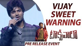Vijay Deverakonda Strong And Sweet Warning To People Who Pirated Taxiwaala Movie