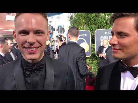 Benj Pasek, Justin Paul ('Greatest Showman') Golden Globes 2018 red carpet exclusive interview