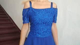 Вечернее синее платье. Универсальный размер. Eli-stor.com
