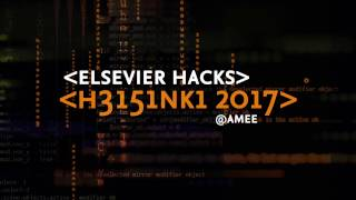 Dont miss out on your chance to be part of ElsevierHacks a