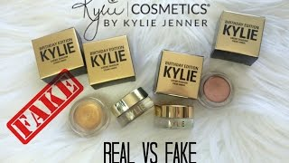 REAL Vs FAKE $1 Creme Eyeshadow Copper+Rose Gold Kylie Cosmetics Birthday Edition