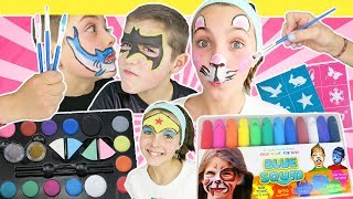 Brother Vs Sister FACE PAINT CHALLENGE Animal And Superhero Edition | Blue Squid Face Paint For Kids