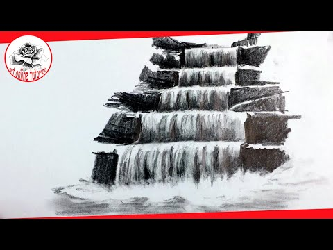 How to Draw a Realistic Waterfall with Pencil   Pencil Drawing Techniques (Subtitled on Screen)