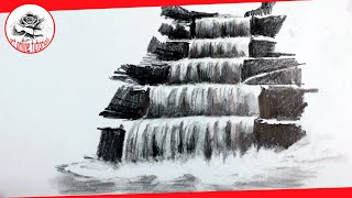 How To Draw A Realistic Waterfall With Pencil | Pencil Drawing Techniques (Subtitled On Screen)