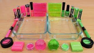 Neon Pink vs Neon Green Mixing Makeup Eyeshadow Into Slime Special Series 164 Satisfying Slime Video