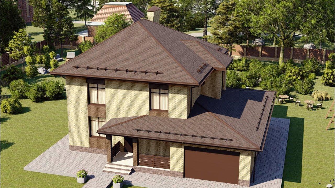 Проект двухэтажного дома с гаражом 159 м2