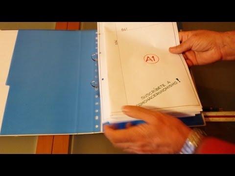 Falten von Plänen A1 nach A4 für Ringbuch