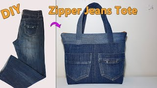 DIY ZIPPER JEANS TOTE | RECYCLE OLD JEANS | DIY BAG | TOTE BAG | BAG SEWING TUTORIAL
