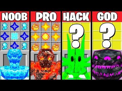Minecraft Battle: ELEMENTAL MONSTER MUTANT CRAFTING CHALLENGE NOOB vs PRO vs HACKER vs GOD Animation