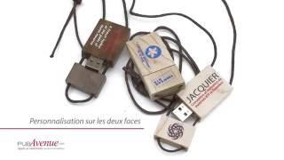 Clé USB en bois avec cordon cuir à personnaliser
