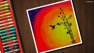 Easy Bird Sunset Scenery Drawing With Oil Pastels Thủ