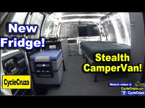 Stealth CamperVan: ARB 50 Quart Refrigerator Install and Review! Tiny House!