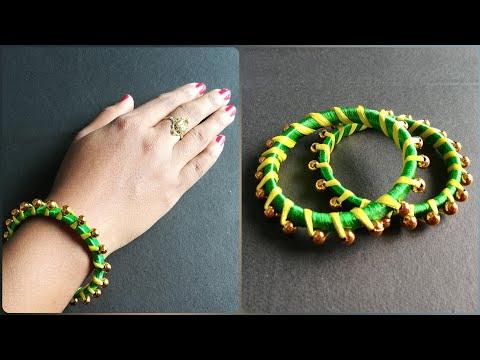 How to make silk thread bangles? Fancy Bangles making by Sangeeta - 001