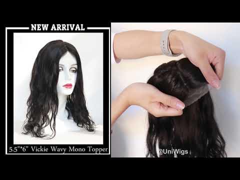 "5.5""*6"" Vickie Wavy Virgin Remy Human Hair Mono Topper"