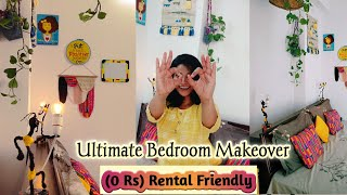 Stylish (0 Rs ) Small Bedroom Makeover || DIY Rental Friendly Decor Ideas|| Free Room Transformation