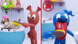 CLAY MIXER: DOG CARE FOR FOOD SLICKER 💖 Play Doh Cartoons For Kids