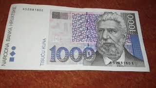 Review banknotes:the biggest Croatian money 1000 kunas