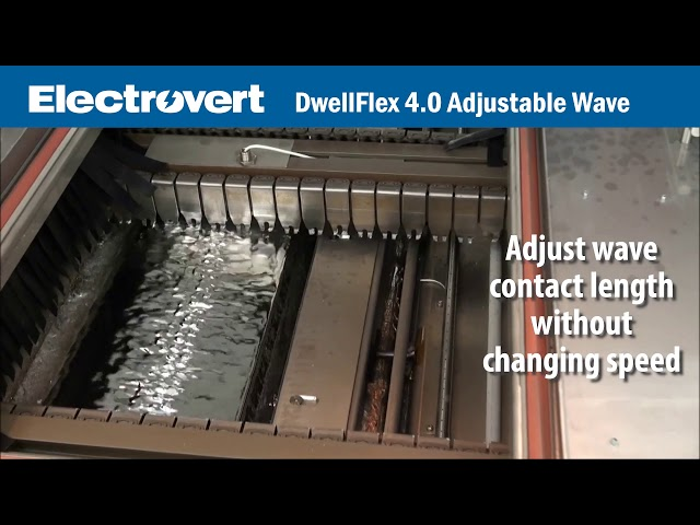 Electrovert's  DwellFlex 4.0 is the first solder nozzle designed specifically with Industry 4.0 automation in mind.  The patent pending design enables the length of the wave to be adjusted on-the-fly as variable board types are run through the wave.  This