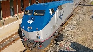 preview picture of video 'Amtrak Train Departs Jackson (Drone Video)'