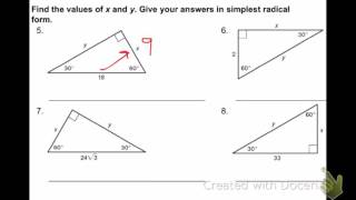 Section 5.8 (Applying Special Right Triangles)