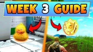 Fortnite WEEK 3 CHALLENGES GUIDE! – RUBBER DUCKIES Locations, Treasure map (Battle Royale Season 4)