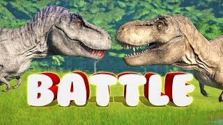 INSANE T-REX VS T-REX BATTLE?! (Jurassic World Evolution)