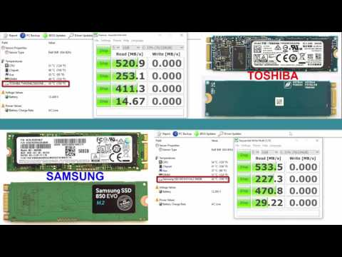 Performance test speed & temperature SSD Toshiba vs Samsung M.2 drives