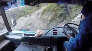 Mountain Three Point Turn on a Himalyan Bus