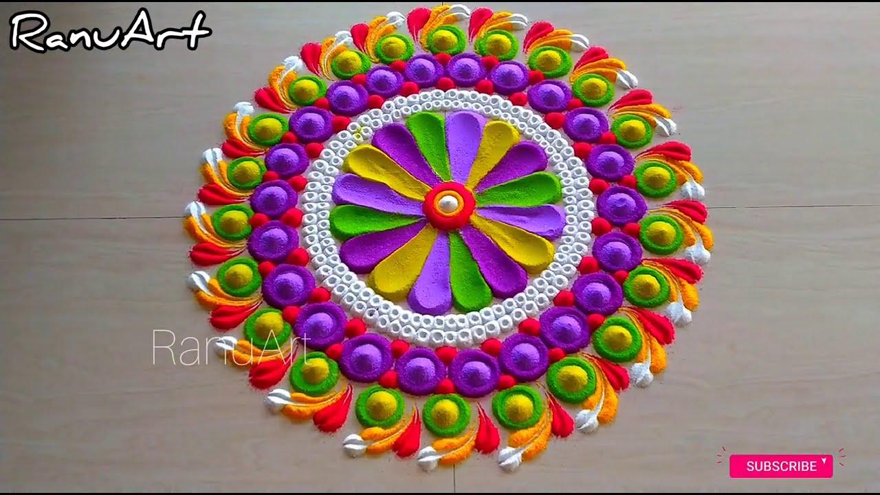 colorful rangoli design and peacock rangoli design by ranu art