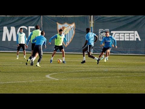 Entrenamiento para el Málaga con ensayo de finalización de jugadas