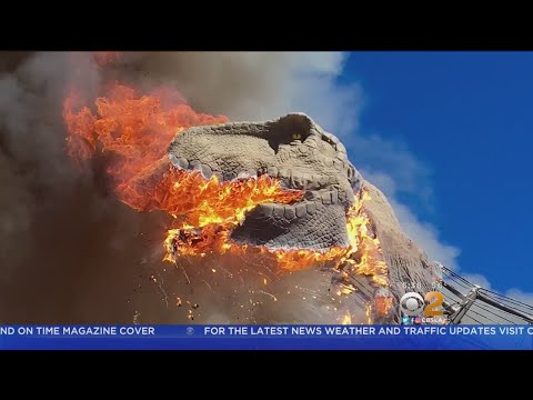 Tyrannosaurus Rex Model Goes Up In Flames
