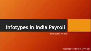 Infotypes in india payroll