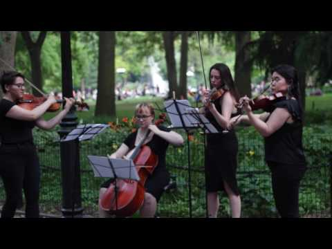 The Pierce Quartet live in Washington Square on a lovely summer's night.