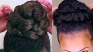 Natural Hair:Braided High Bun Tutorial Collab
