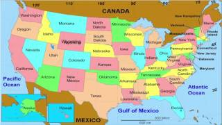 50 States  and Capitals  of the United States of America | Learn geographic regions of the USA map